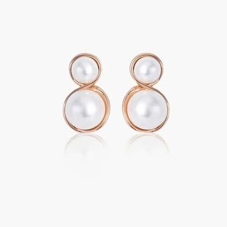 Rose Gold Double Pearl Earrings